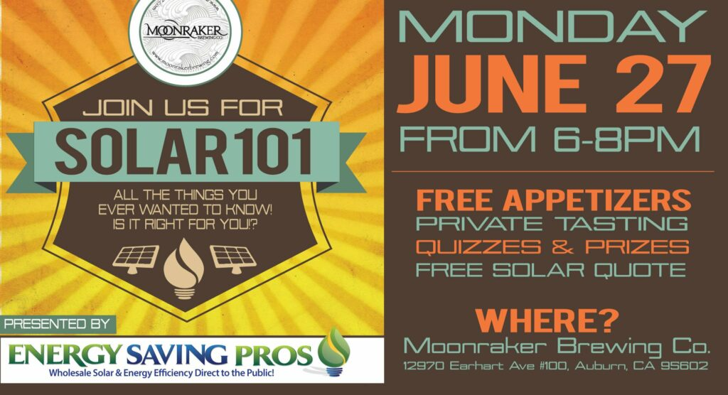 Solar 101 – Energy Saving Pros Seminar at Moonraker Brewery June 27th
