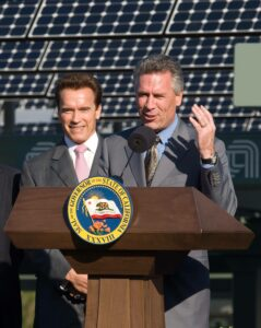 California Governor Arnold Schwarzenegger and President and CEO Mike Splinter, right, dedicated a 2 megawatt solar power system at the Applied Materials campus in Sunnyvale, California, Thursday, Oct. 9, 2008, one of the largest corporate solar power installations in the United States. The Applied Materials solar system in Sunnyvale incorporates more than 7,000 wafer-based solar panels made by SunPower Corporation using AppliedÕs Bacciniª Cell Systems, and is capable of generating approximately 2 megawatts of power each year.